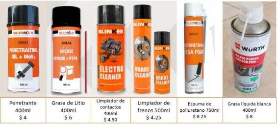 Lubricantes y disolventes para el taller, penetrantes, limpiadores.